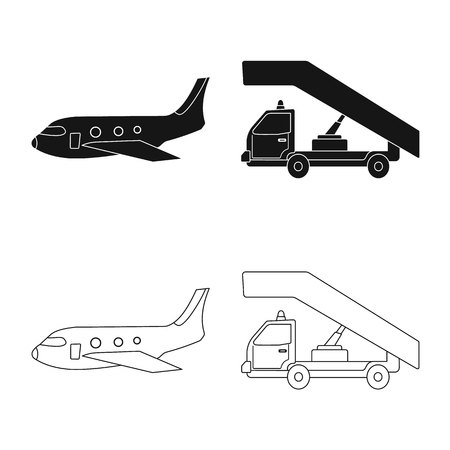 Vector design of airport and airplane logo. Collection of airport and plane stock vector illustration. Imagens