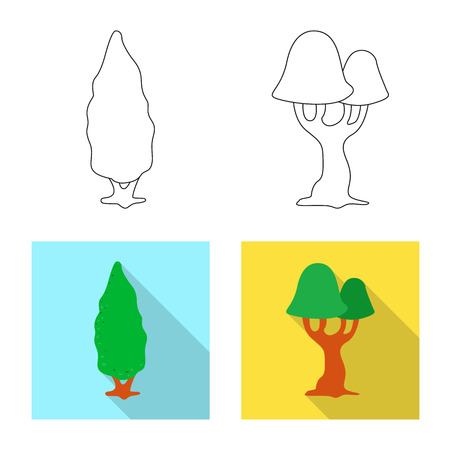 Vector design of tree and nature symbol. Collection of tree and crown vector icon for stock. Иллюстрация