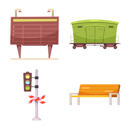 Isolated object of train and station sign. Collection of train and ticket vector icon for stock.