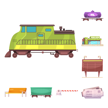 Vector design of train and station sign. Set of train and ticket vector icon for stock. Illustration