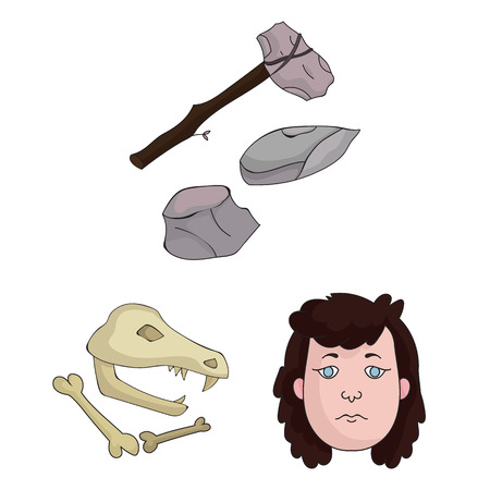 Life in the Stone Age cartoon icons in set collection for design. Ancient people bitmap symbol stock web illustration.