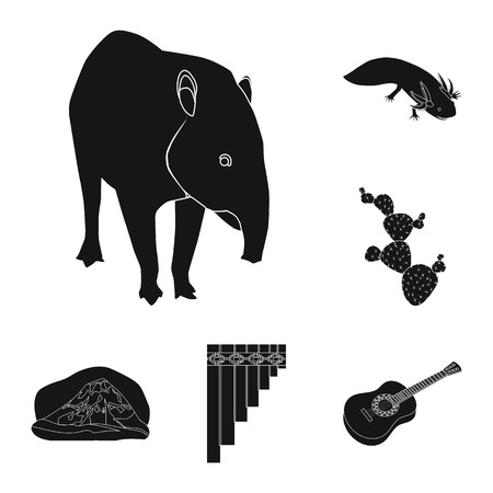 Country Mexico black icons in set collection for design. Mexico and landmark bitmap symbol stock web illustration.