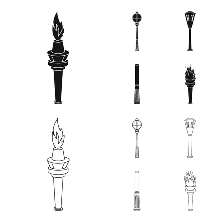 Lamppost in retro style, modern lantern, torch and other types of streetlights. Lamppost set collection icons in black,outline style bitmap symbol stock illustration web.