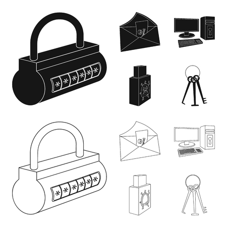 Virus, monitor, display, screen .Hackers and hacking set collection icons in black,outline style bitmap symbol stock illustration web. Banque d'images