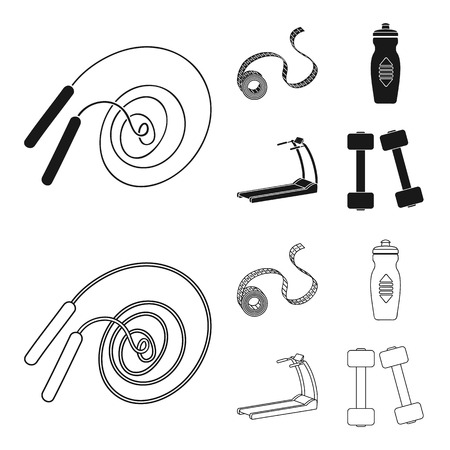 Measuring tape, water bottle, treadmill, dumbbells. Fitnes set collection icons in black,outline style bitmap symbol stock illustration web.