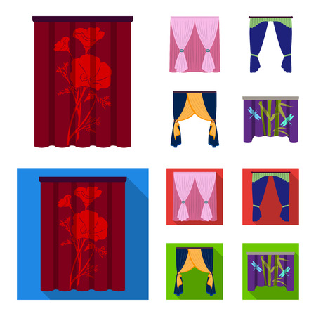 Cornices, garters, ribbon and other web icon in cartoon,flat style.Machine, textiles, furniture icons in set collection. Foto de archivo