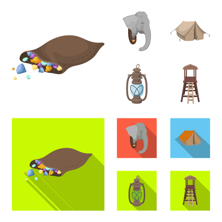 A bag of diamonds, an elephant head, a kerosene lamp, a tent. African safari set collection icons in cartoon,flat style bitmap symbol stock illustration web.