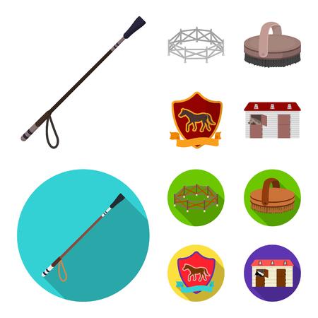 Aviary, whip, emblem, hippodrome .Hippodrome and horse set collection icons in cartoon,flat style bitmap symbol stock illustration web.