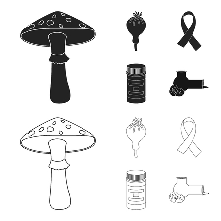 AIDS tape, tablets, opium poppy, a tube for hashish.Drug set collection icons in black,outline style bitmap symbol stock illustration web. Stock Photo