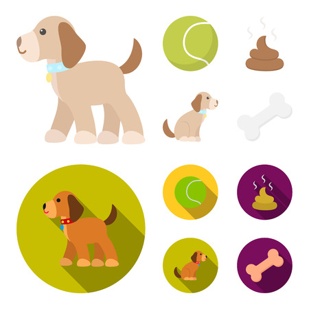Dog sitting, dog standing, tennis ball, feces. Dog set collection icons in cartoon,flat style bitmap symbol stock illustration web.