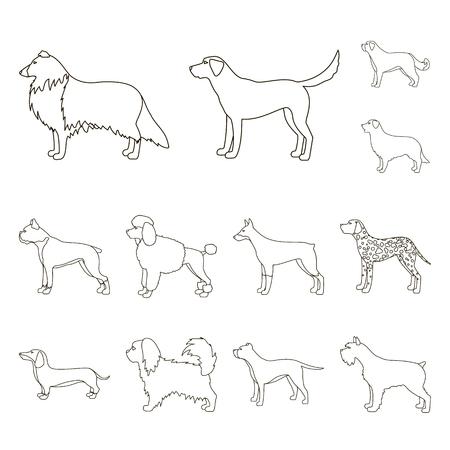 Dog breeds outline icons in set collection for design.Dog pet bitmap symbol stock web illustration.