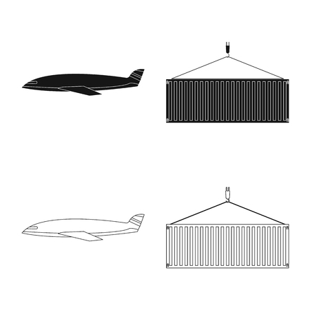 Vector illustration of goods and cargo sign. Set of goods and warehouse stock symbol for web. Illustration