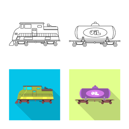 Vector design of train and station icon. Set of train and ticket stock symbol for web. Illustration