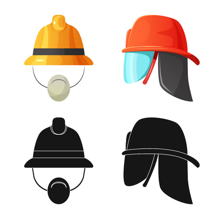 Vector illustration of headgear and cap sign. Set of headgear and accessory stock symbol for web.