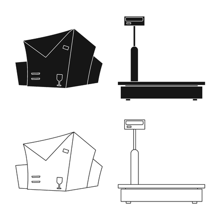 Vector illustration of goods and cargo sign. Set of goods and warehouse vector icon for stock.