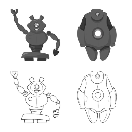 Vector design of robot and factory sign. Collection of robot and space vector icon for stock.