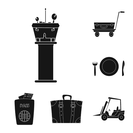 Vector design of airport and airplane icon. Collection of airport and plane vector icon for stock.