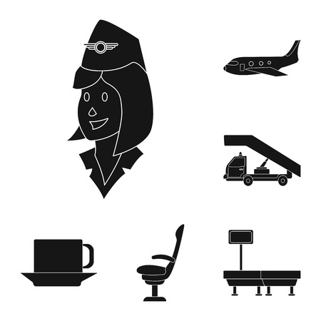 Vector design of airport and airplane icon. Set of airport and plane stock symbol for web.