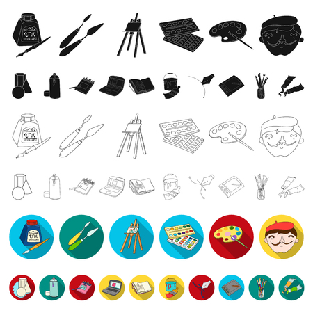 Painter and drawing flat icons in set collection for design. Artistic accessories vector symbol stock web illustration.