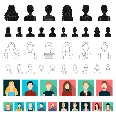 Avatar and face flat icons in set collection for design. A person s appearance vector symbol stock web illustration.