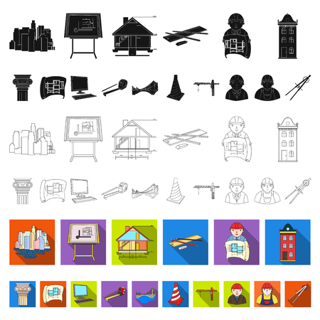 Architecture and construction flat icons in set collection for design. Architect and equipment vector symbol stock web illustration. Ilustrace