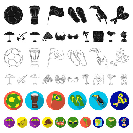 Country Brazil flat icons in set collection for design. Travel and attractions Brazil vector symbol stock web illustration.