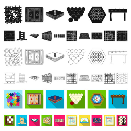 Board game flat icons in set collection for design. Game and entertainment vector symbol stock web illustration.