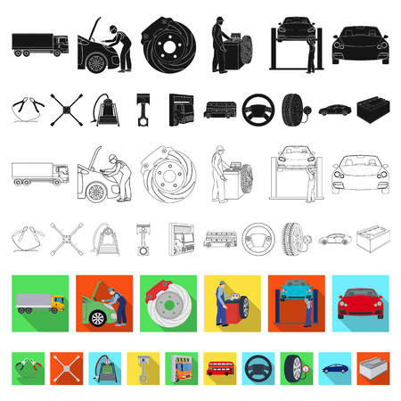 Coche, ascensor, bomba y otros equipos planos iconos de colección set de diseño. Web del ejemplo de la acción del símbolo del vector de la estación de mantenimiento del coche.