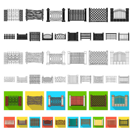 Different fence flat icons in set collection for design.Decorative fencing vector symbol stock web illustration. Illustration