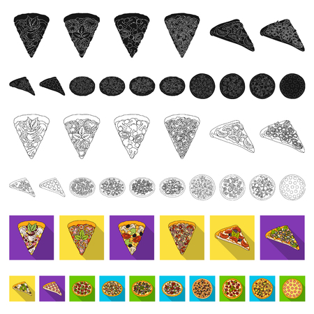 Different pizza flat icons in set collection for design.Pizza food vector symbol stock web illustration.