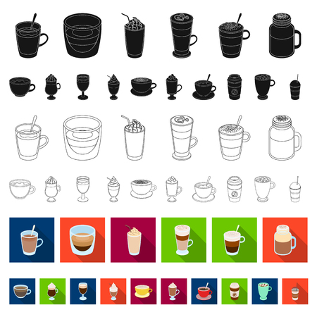 Different kinds of coffee flat icons in set collection for design. Coffee drink vector symbol stock web illustration.