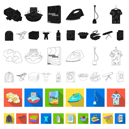 Dry cleaning equipment flat icons in set collection for design. Washing and ironing clothes vector symbol stock web illustration.