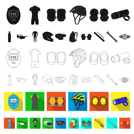 Bicycle outfit flat icons in set collection for design. Bicycle and tool vector symbol stock web illustration.