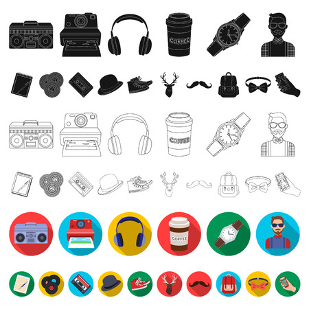 Style Hipster flat icons in set collection for design. Hipster Attributes and accessories vector symbol stock web illustration. Vectores