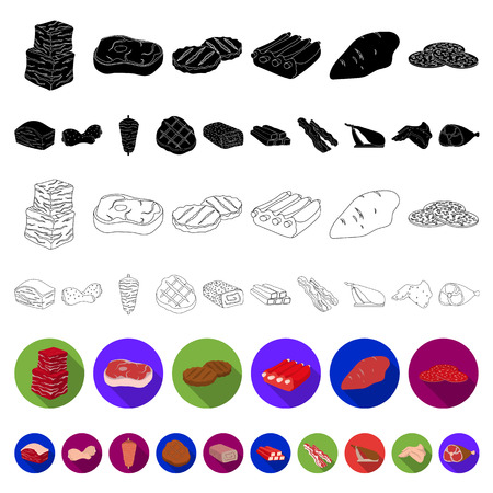 Different meat flat icons in set collection for design. Meat product vector symbol stock web illustration. Illustration