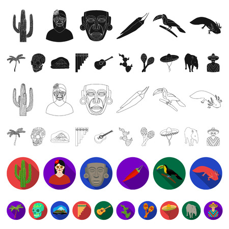 Country Mexico flat icons in set collection for design. Mexico and landmark vector symbol stock web illustration. Illustration