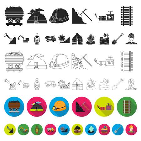 Mining industry flat icons in set collection for design. Equipment and tools vector symbol stock web illustration. Иллюстрация