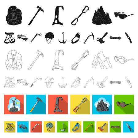 Mountaineering and climbing flat icons in set collection for design. Equipment and accessories vector symbol stock web illustration. Archivio Fotografico - 109796477