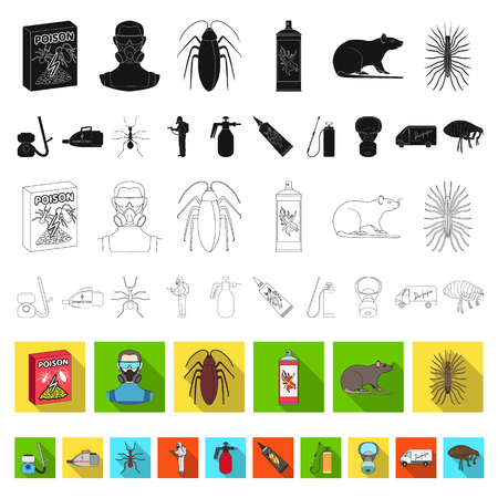 Pest, poison, personnel and equipment flat icons in set collection for design. Pest control service vector symbol stock web illustration.