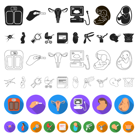 Woman and pregnancy flat icons in set collection for design. Gynecology and equipment vector symbol stock web illustration.