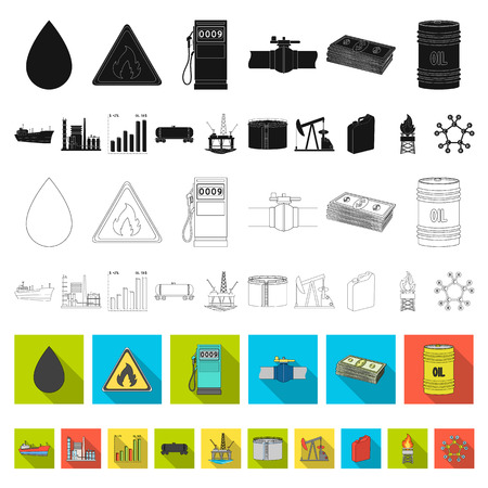Oil industry flat icons in set collection for design. Equipment and oil production vector symbol stock web illustration. Иллюстрация