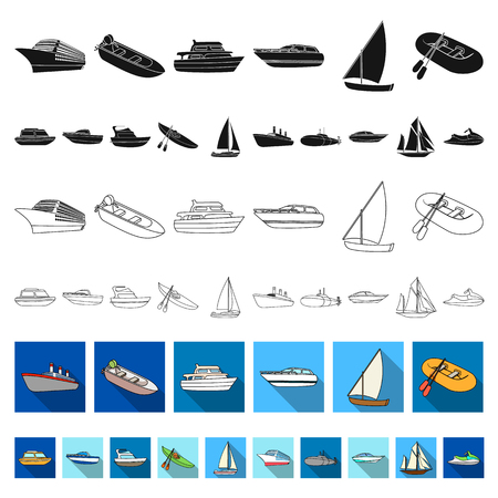 Water and sea transport flat icons in set collection for design. A variety of boats and ships vector symbol stock web illustration.