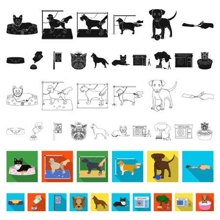 Pet flat icons in set collection for design. Care and education vector symbol stock web illustration. Ilustração