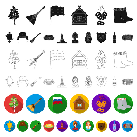 Country Russia, travel flat icons in set collection for design. Attractions and features vector symbol stock web illustration. Stok Fotoğraf - 109796884