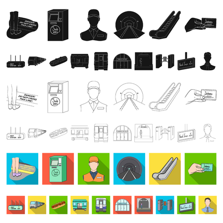 Metro, subway flat icons in set collection for design.Urban transport vector symbol stock web illustration. Illustration