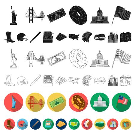 Estados Unidos, país, plano, iconos, en, conjunto, colección, para, design., Viaje, y, atracciones, vector, símbolo, acción, tela, illustration.
