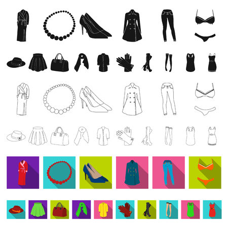 Women Clothing flat icons in set collection for design.Clothing Varieties and Accessories vector symbol stock web illustration. Illustration