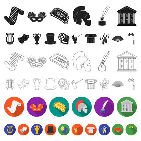 Theatrical art flat icons in set collection for design.Theater equipment and accessories vector symbol stock illustration.