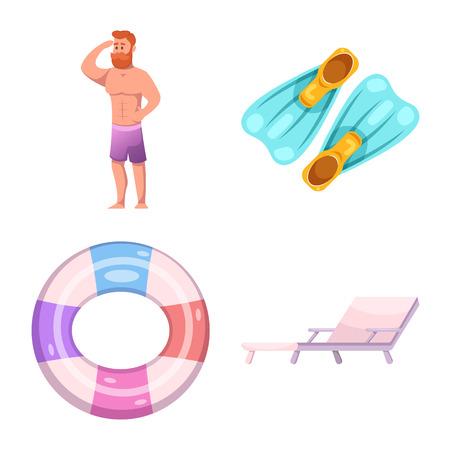 プールと水泳ロゴのベクトルデザイン。Web のプールとアクティビティの銘柄記号のセット。