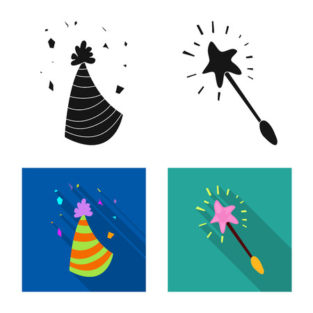 Vector illustration of party and birthday sign. Set of party and celebration stock symbol for web.